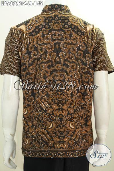 Hem Batik Lengan Pendek Modis Bahan Adem Proses Kombinasi Tulis, Baju Batik Jawa Masa Kini Trend Terbaru Buat Cowok Terlihat Elegan, Size M