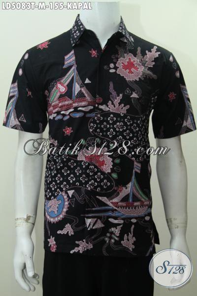 Hem Batik Warna Hitam Motif Keren Banget Berbahan Halus Dan Adem, Baju Batik Tulis Lengan Pendek Modis Buat Hangout Kawula Muda, Size M