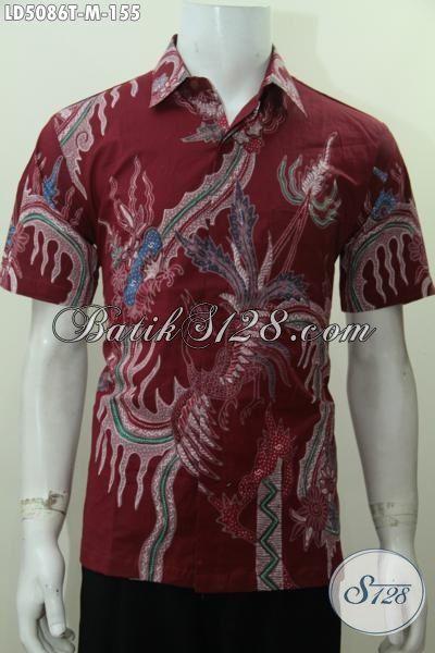 Sedia Busana Batik Merah Motif Keren Model Lengan Pendek, Baju Batik Gaul Proses Tulis Kwalitas Premium Harga Grosir, Size M
