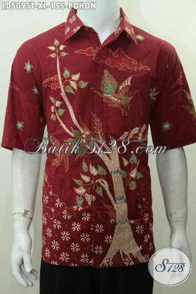 Baju Batik Warna Merah Ukuran XL Motif Pohon, Pakaian Batik Tulis Desain Mewah Bahan Adem Nyaman Dan Modis Di Pakai