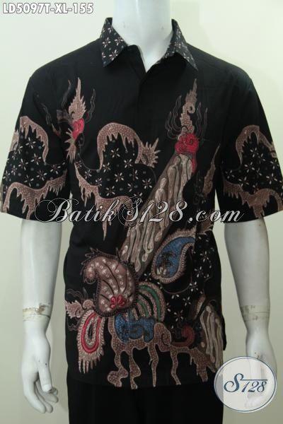 Baju Hem Lengan Pendek Hitam Motif Terbaru Yang Lebih Modis Dan Gaya, Pakaian Batik Solo Proses Tulis Kwalitas Mewah Harga Murah, Size XL