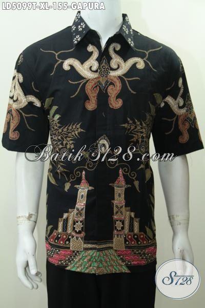 Baju Hem Istimewa Bahan Batik Tulis Halus Motif Gapura, Pakaian Batik Lengan Pendek Hitam Elegan Bikin Pria Terlihat Gagah Dan Keren, Size XL