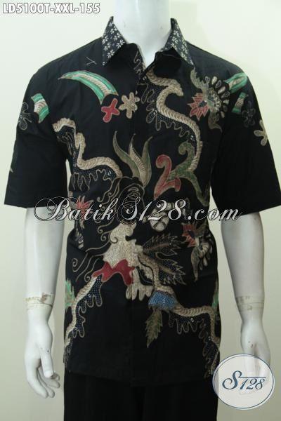 Hem Batik Istimewa Berbahan Adem Motif Keren Proses Tulis, Baju Batik Solo Warna Hitam Elegan Size XXL Spesial Untuk Cowok Berbadan Gemuk