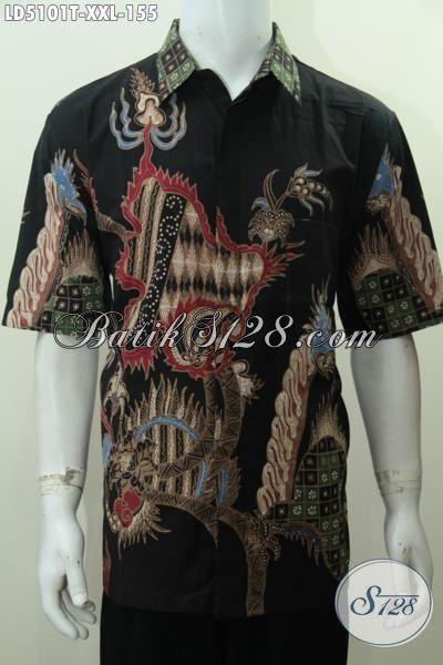 Sedia Kemeja Batik 3L Kwalitas Bagus Proses Tulis, Baju Batik Solo Motif Paling Baru Yang Bikin Lelaki Gemuk Nampak Gagah Dan Berkelas [LD5101T-XXL]