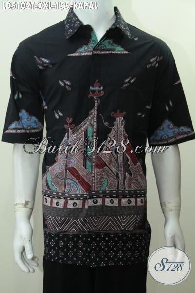 Hem Batik Trendy Motif Kapal Ukuran XXL, Baju Batik Tulis Lengan Pendek Elegan Model Terbaru Pria Gemuk Tampil Makin Modis