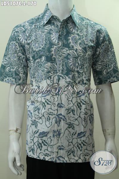 Hem Batik Modis Dua Warna Model Lengan Pendek, Baju Batik Modern Kombinasi Dua Motif Kwalitas Halus Bikin Penampilan Lebih Menawan [LD5107C-L]