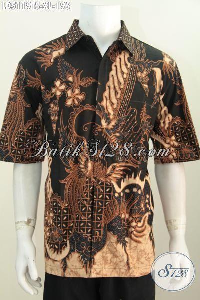 Kemeja Lengan Pendek Batik Tulis Pewarna Soga Ukuran XL, Baju Batik Pria Dewasa Motif Berkelas Bikin Penampilan Makin Gagah