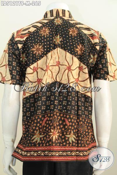 Baju Batik Klasik Lengan Pendek Buat Lelaki Muda, Hem Kerja Bahan Batik Tulis Elegan Bikin Pria Karir Terlihat Berwibawa Dan Modis, Size M