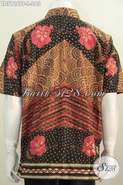 Baju Hem Modis Desain Formal Kwalitas Premium, Pakaian Batik Lengan Pendek Motif Klasik Proses Tulis Yang Membuat Terlihat Gagah Sempurna [LD5126T-L]