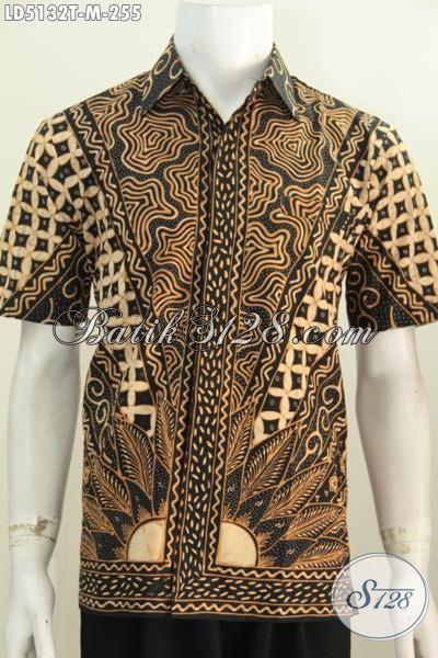 Kemeja Batik Seragam Kerja Ukuran M Motif Bagus Nan Mewah, Baju Batik Klasik Lengan Pendek Elegan Cowok Terlihat Rapi Dan Berkarakter