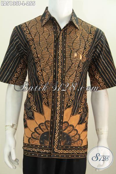 Baju Batik Elegan Lengan Pendek Motif Klasik Proses Tulis Asli Buatan Solo, Hem Batik Berkelas Seragam Kerja Kwalitas Tinggi Dengan Harga Terjangkau, Size L