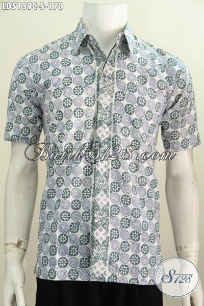 Baju Hem Lengan Pendek Bahan Batik Ukuran Kecil, Pakaian Batik Santai Motif Keren Terbaru Bikin Penampilan Tambah Kece, Size S