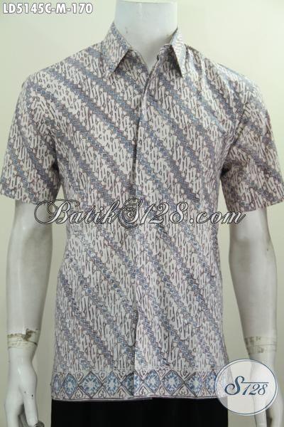 Hem Batik Modern Dengan Motif Parang Klasik, Baju Batik Lengan Pendek Modis Proses Cap, Cocok Untuk Kerja Serta Keren Buat Pesta [LD5145C-M]
