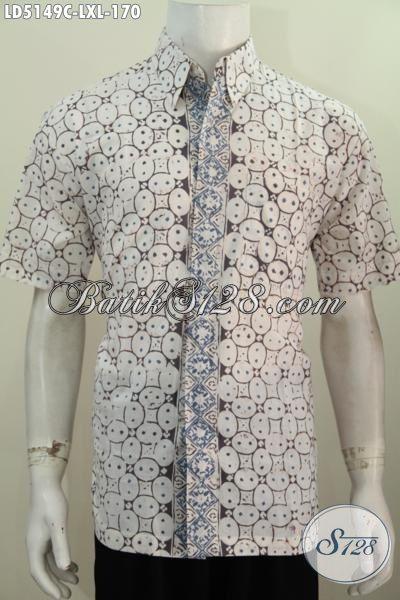 Baju Kemeja Batik Model Paling Baru Yang Di Sukai Pria Karir, Busana Batik Modern Motif Bagus Model Lengan Pendek Proses Cap, Di Jual Online, Size L – XL