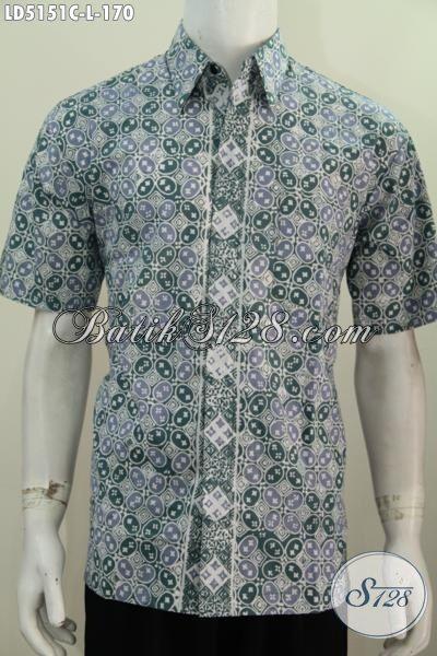 Produk Baju Batik Trendy Model Lengan Pendek Yang Keren Untuk Hangout Serta Pesta, Batik Solo Modern Proses Cap Motif Paling Berkelas, Size L