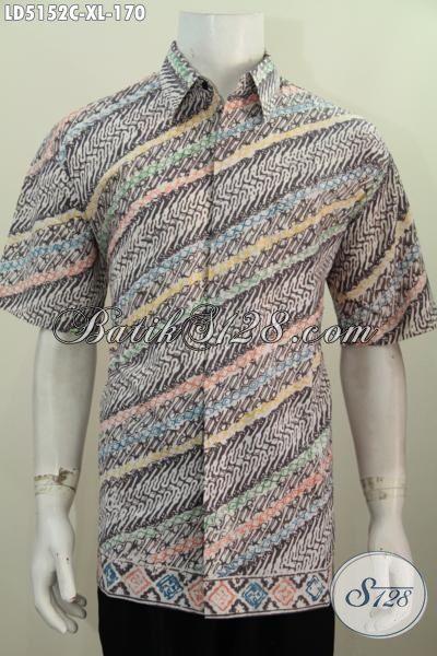 Tampil Gaya Dan Keren Dengan Kemeja Batik Lengan Pendek Motif Parang Proses Cap, Berbahan Halus Motif Trendy, Size XL