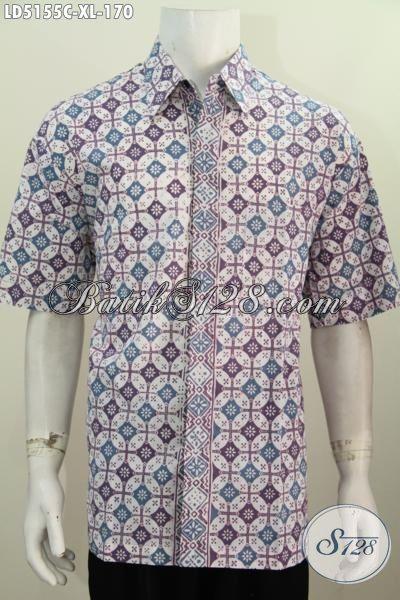 Pakaian Batik Modern Buatan Solo Kwalitas Bagus, Baju Legan Pendek Batik Cap Motif Unik, Hem Batik Santai Size XL Modis Untuk Jalan-Jalan