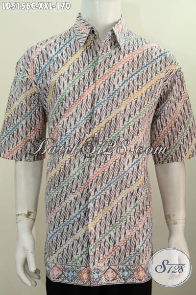 Hem Batik Jumbo Model Lengan Pendek, Baju Batik Pria Gemuk 3L Motif Parang Proses Cap, Bikin Penampilan Tambah Kece [LD5156C-XXL]