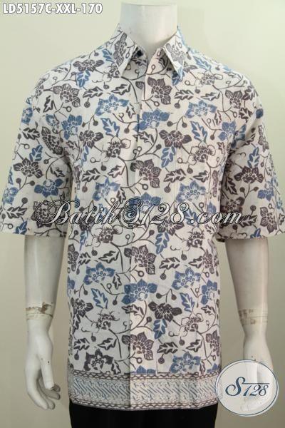 Busana Batik Untuk Acara Santai, Kemeja Batik Trendy Lengan Pendek, Baju Batik Proses Cap Warna Cerah Berbahan Adem Untuk Lelaki Gemuk Size XXL