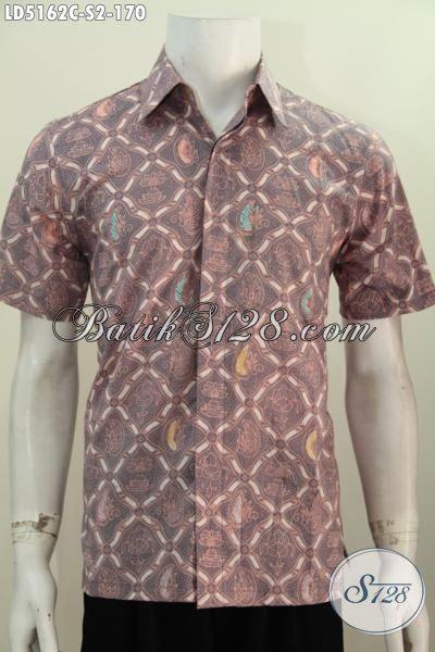 Hem Batik Remaja Pria Berbahan Halus Motif Unik, Produk Baju Batik Lengan Pendek Modis Proses Cap Untuk Penampilan Lebih Tampan, Size S