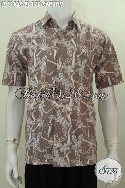 Baju Hem Batik Modis Motif Capung Kwalitas Bagus, Pakaian Batik Modis Proses Cap Buatan Solo Kwalitas Istimewa Dengan Harga Terjangkau, Size M