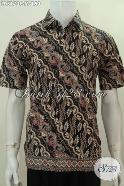 Produk Pakaian Batik Modern Motif Parang, Baju Hem Batik Lengan Pendek Proses Cap Untuk Penampilan Lebih Tampan, Size M