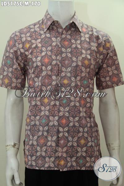 Jual Online Hem Batik Lengan Pendek Motif Keren Sekali, Baju Santai Proses Cap Bahan Adem Dan Halus, Size M