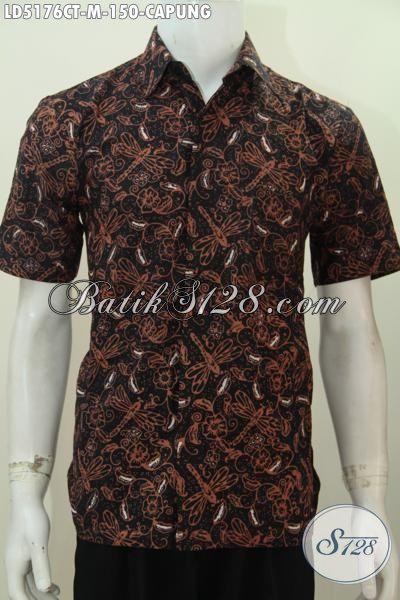 Jual Baju Batik Elegan Berpadu Motif Capung Yang Keren, Pakaian Batik Cap Tulis Buatan Solo Trendy Untuk Jalan-Jalan, Size M