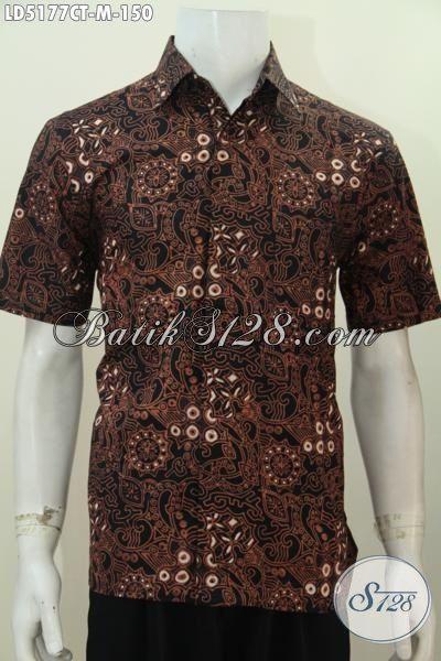 Kemeja Batik Keren Warna Elegan, Batik Hem Jawa Cap Tulis Halus Motif Trendy Saat Ini Cocok Untuk Gaul Dan Kerja, Size M