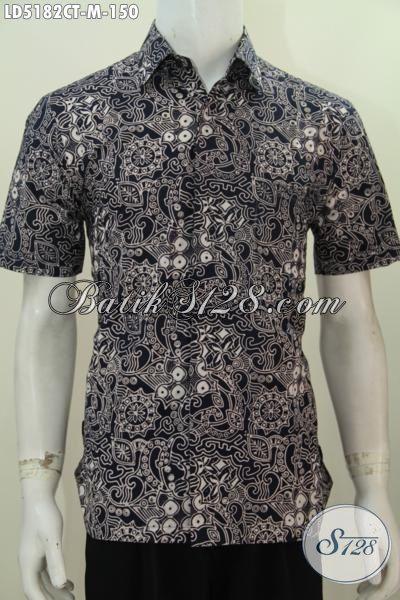 Baju Hem Berkelas Bahan Batik Proses Cap Tulis, Kemeja Batik Lengan Pendek Dasar Hitam Dengan Motif Premium Tampil Terlihat Istimewa [LD5182CT-M]