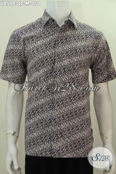 Batik Hem Parang Model Lengasn Pendek, Pakaian Batik Elegan Cap Tulis Warna Bagus Bahan Adem Cocok Untuk Kerja, Size M