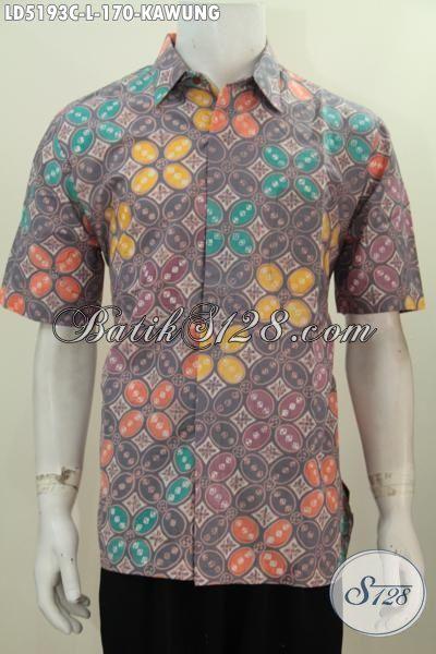 Hem Batik Keren Motif Kawung Dengan Desain Modern Dan Berkelas, Busana Batik Lengan Pendek Proses Cap Untuk Pria Terlihat Modis Dan Trendy, Size L