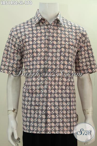 Baju Hem Lengan Pandek Berbahan Batik Cap Buatan Solo, Pakaian Batik Santai Modis Untuk Hangout Dan Keren Untuk Ke Pesta [LD5195C-L]