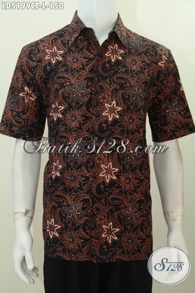 Toko Online Batik Terpercaya, Sedia Kemeja Lengan Pendek Halus Berbahan Batik Cap Tulis Motif Elegan Yang Membuat Cowok Terlihat Gagah Menawan [LD5199CT-L]