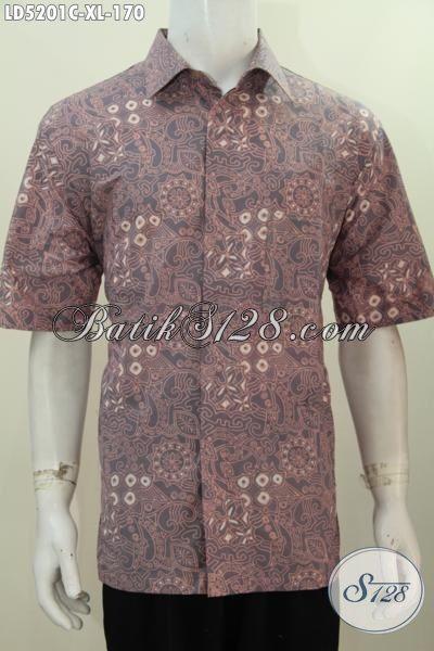 Kemeja Batik Cap Buatan Solo Motif Berkelas Trend Mode Masa Kini, Pakaian Batik Lengan Pendek Ukuran XL Untuk Kerja Dan Jalan-Jalan