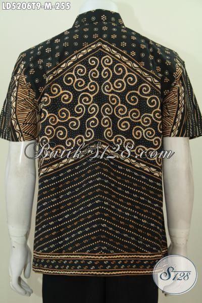 Baju Batik Tulis Lengan Pendek Kwalitas Premium, Busana Batik Jawa Klasik Istimewa Untuk Seragam Kerja, Size M