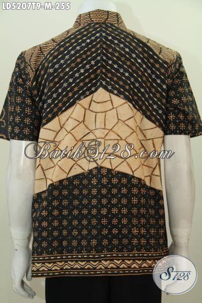 Hem Lengan Pendek Batik Tulis Buatan Solo, Busana Batik Kwalitas Premium Bahan Adem Nyaman Di Pakai, Size M