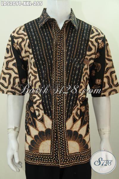 Kemeja Batik Klasik Spesial Buat Pria Gemuk, Baju Batik Lengan Pendek Mewah Proses Tulis Untuk Baju Rapat Dan Kondangan, Size XXL