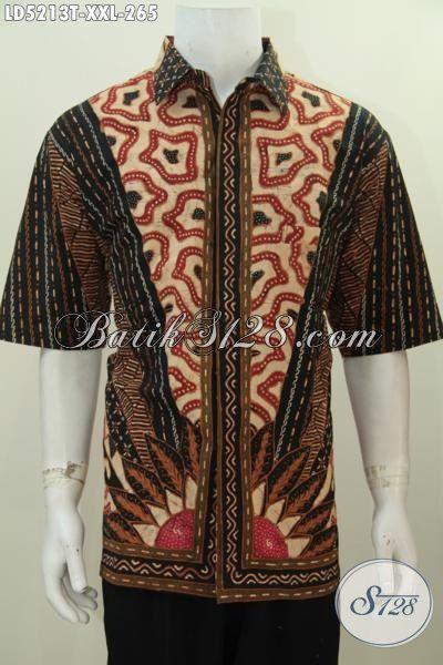 Baju Kemeja 3L Spesial Untuk Cowok Gemuk, Baju Kerja Batik Motif Klasik Tulis Tangan Desain Formal Tampil Gagah Dan Menawan, Size XXL
