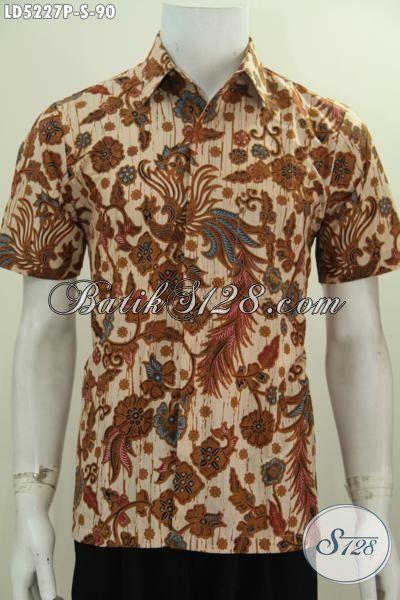 Hem Keren Warna Klasik Nan Elegan, Pakaian Batik Cowok Model Lengan Pendek Proses Printing Modis Untuk Hangouts, Size S