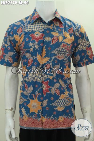 Jual Hem Batik Printing Motif Bagus Berbahan Adem, Baju Batik Biru Lengan Pendek Istimewa Untuk Cowok Makin Stylish [LD5237P-M]