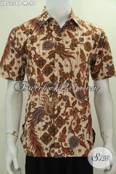 Batik Elegan Warna Coklat Motif Bagus Berbahan Halus Harga Murah Meriah, Kemeja Batik Lengan Pendek Pria Muda Tampil Gagah Dan Tampan, Size M