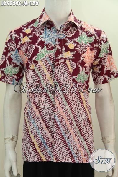 Hem Batik Parang Bunga Warna Merah, Baju Batik Jawa Modern Proses Cap Tulis Penunjang Penampilan Pria Makin Tampan Maksimal, Size M