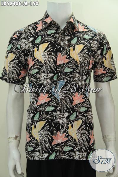 Busana Batik Modern Motif Bunga Proses Cap, Batik Santai Lelaki Size M Keren Buat Pesta Dan Gaul