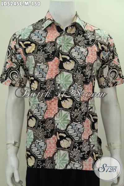 Hem Batik Trendy Model Lengan Pendek, Baju Batik Kawula Muda Ukuran M Motif Unik Proses Cap Bahan Adem Nayaman Di Pakai [LD5245C-M]