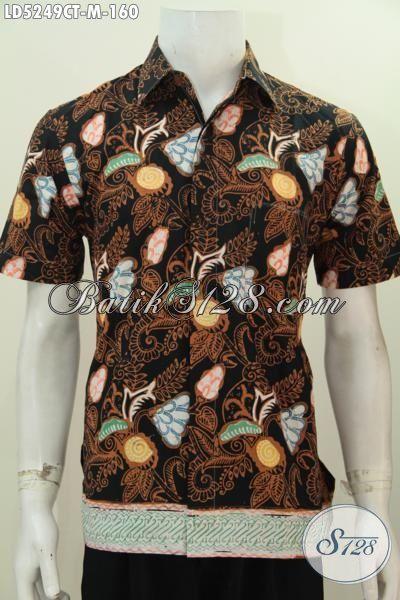 Juragan Baju Batik Online Motif Bunga Warna Elegan Kwalitas Istimewa, Pakaian Batik Jawa Halus Buatan Solo Tampil Menawan Dan Tampan, Size M