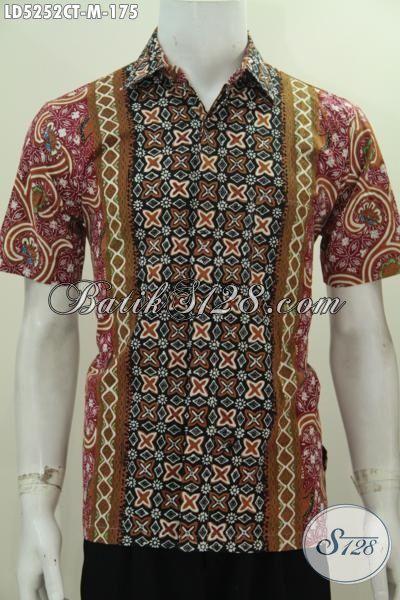Hem Lengan Pendek Motif Kombinasi Proses Cap Tulis, Pakaian Batik Modern Buat Kawula Muda Yang Ingin Tampil Bergaya, Size M