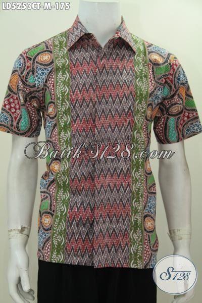 Toko Batik Online Koleksi Update Setiap Hari, Sedia Hem Batik Modis Lengan Pendek Motif Kombinasi Dengan Bahan Adem Dan Halus Proses Cap Tulis Harga Terjangkau, Size M