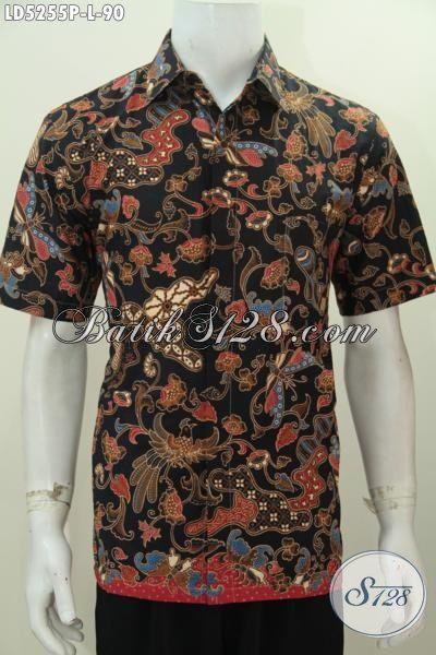Produk Baju Batik Elegan Warna Hitam Berpadu Motif Bunga Nan Mewah, Baju Lengan Pendek Modis Proses Printing Cocok Buat Hangouts Dan Acara Santai [LD5255P-L]