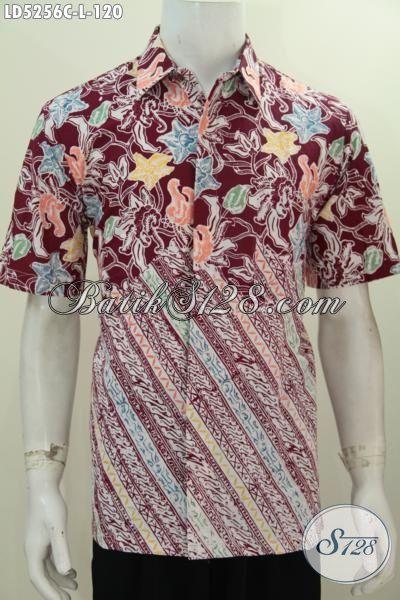 Baju Batik Cap Dua Motif Berbahan Halus Kwalitas Istimewa, Kemeja Lengan Pendek Nan Trendy Membuat Cowok Terlihat Mempesona [LD5256C-L]